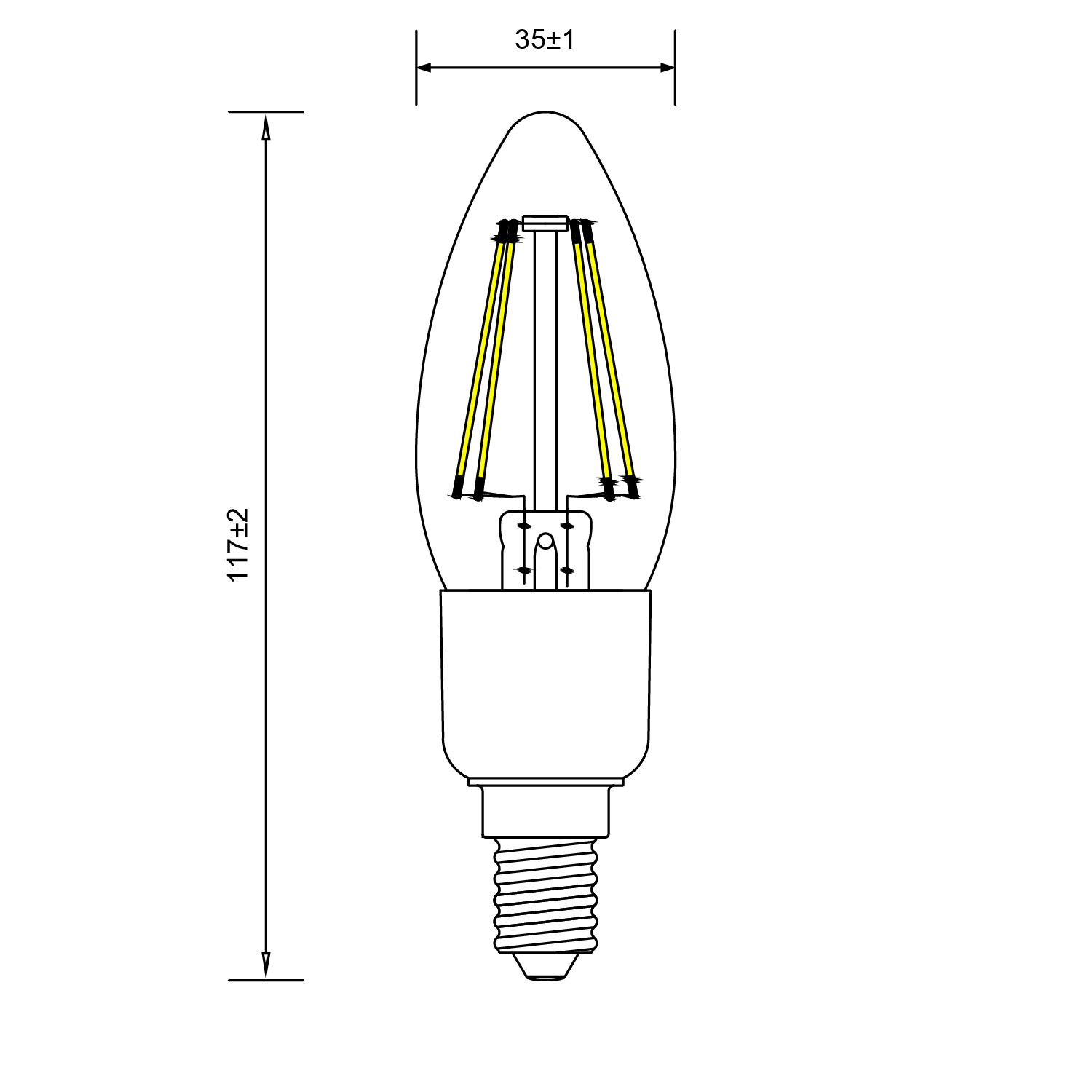 Line Art Solutions Ltd : Toledo retro candle dimmable sylvania lighting solutions